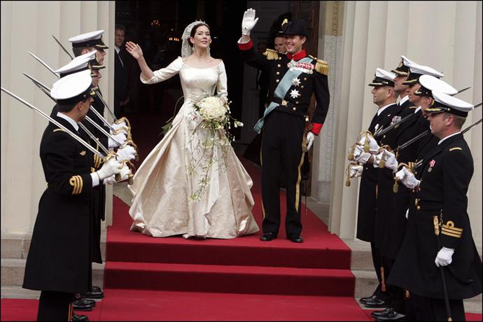 **Mary, Crown Princess of Denmark, 2004**  Married: The Australian-born Mary Donaldson married Frederik, Crown Prince of Denmark  Designer: Danish designer Uffe Frank  Estimated Cost: While the exact cost of the gown has never been released, the couple's 2004 budget was blown out by more than $900,000 during their wedding year.