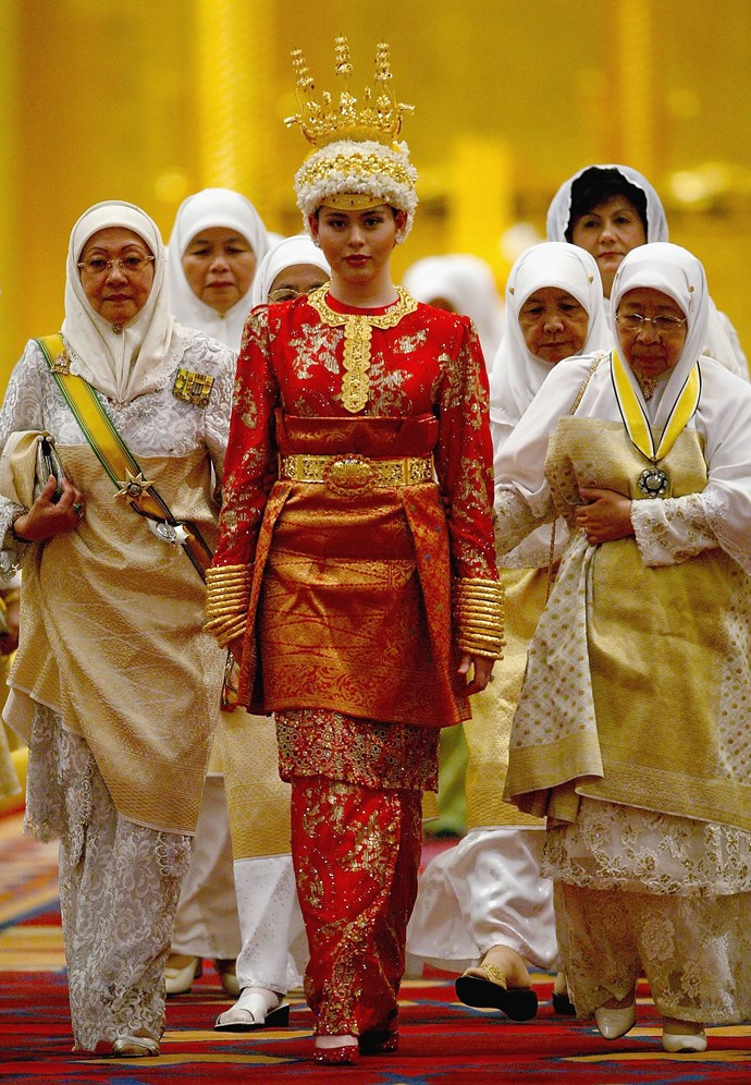 **Princess Dayangku Sarah, 2004**  Married: Crown Prince al-Muhtadee Billah Bolkiah of Brunei  Designer: Princess Sarah had about five outfits all made by local couturiers.  Estimated Cost: About $4 million