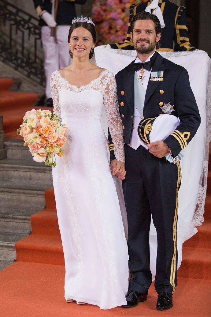 **Princess Sofia of Sweden, 2015**  Married: The then Sofia Hellqvist wed Prince Carl Philip of Sweden  Designer: Swedish designer Ida Sjöstedt   Estimated Cost: It's never been disclosed however the gown was made of silk organza, crepe and handmade lace in three shades of white. Her metres-long train was also hand-cut and hand-stitched.