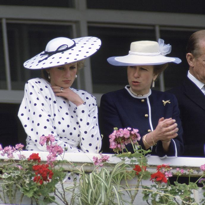 **PRINCESS DIANA AND PRINCESS ANNE AT THE DERBY, 1986** <br><br> We can't help but wonder what Diana and Princess Anne were talking about. Nonetheless, Diana was a vision in polka-dots while watching the polo in 1986.