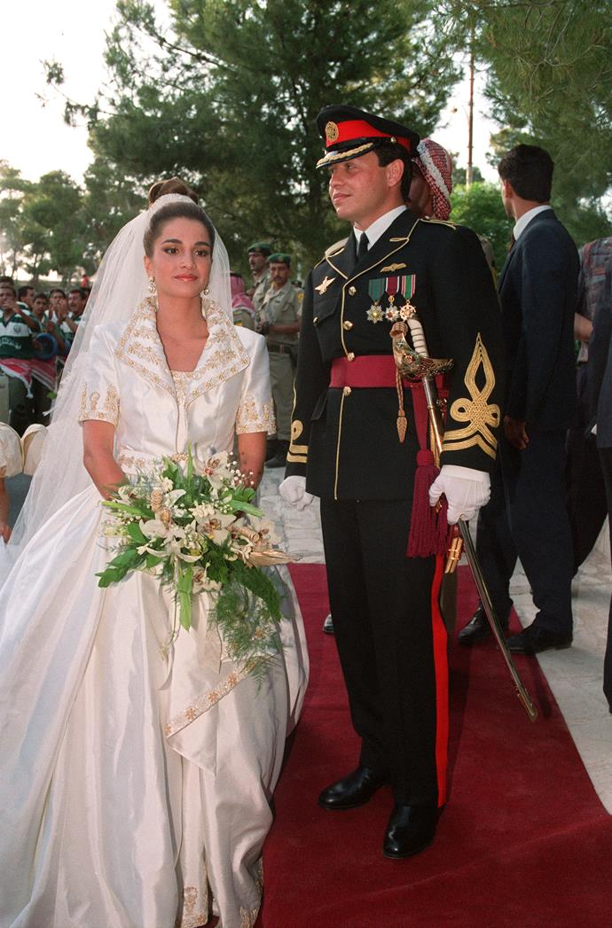 **Queen Rania of Jordan, 1993**   Married: Rania al Yassin married the then Crown Prince Abdullah of Jordan  Designer: Bruce Oldfield, the same designer who made many of Princess Diana's evening gowns.  Estimated Cost: There is no official price of her original gown.