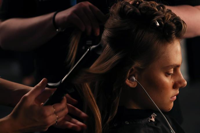 A model backstage at Anna Quan getting the 'high maintenance waves' treatment.