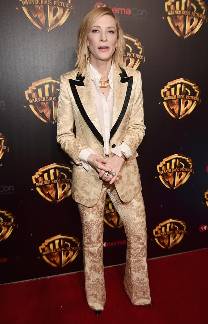 Wearing Gucci at CinemaCon 2018 in Las Vegas on 24 April, 2018.