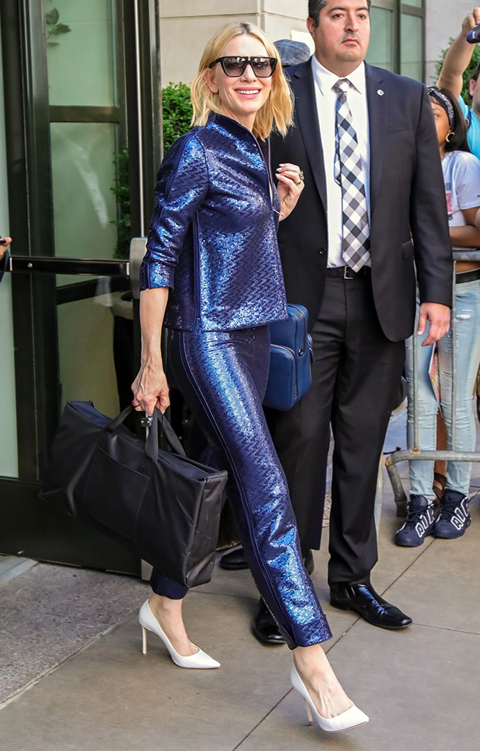 Wearing Armani while leaving her hotel in New York City on 24 May, 2018.