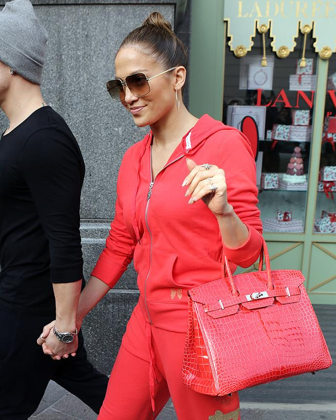With a red crocodile skin Hermès Birkin in London on 24 October, 2012
