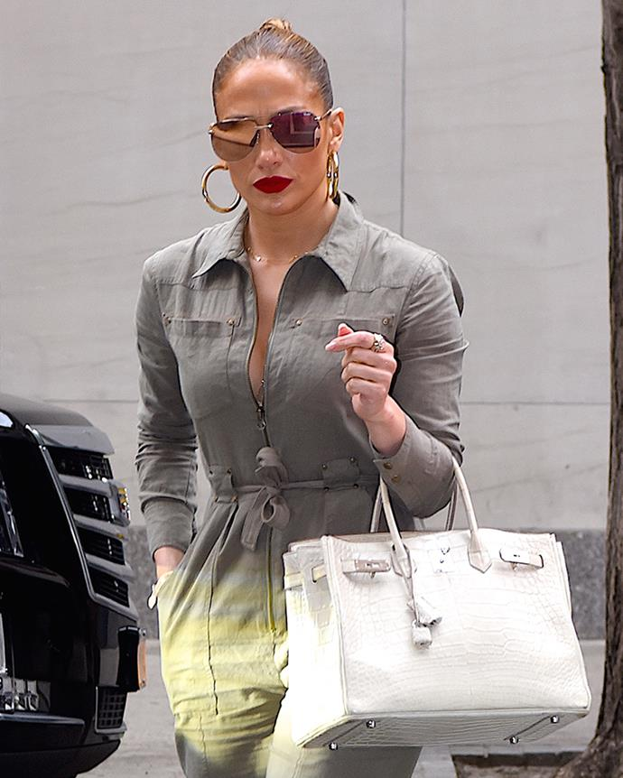 With an ivory crocodile skin Hermès Birkin in New York City on 25 August, 2017