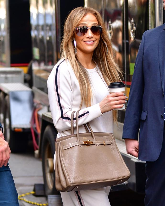 With a nutmeg Hermès Birkin in New York City on 14 May, 2018