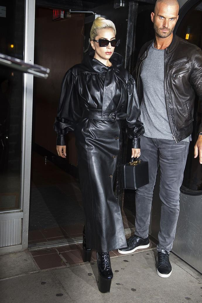 **May 28:**   <br><br> And that same night, she then changed to a second leather ensemble—this time a sleek black leather coat à la The Matrix.