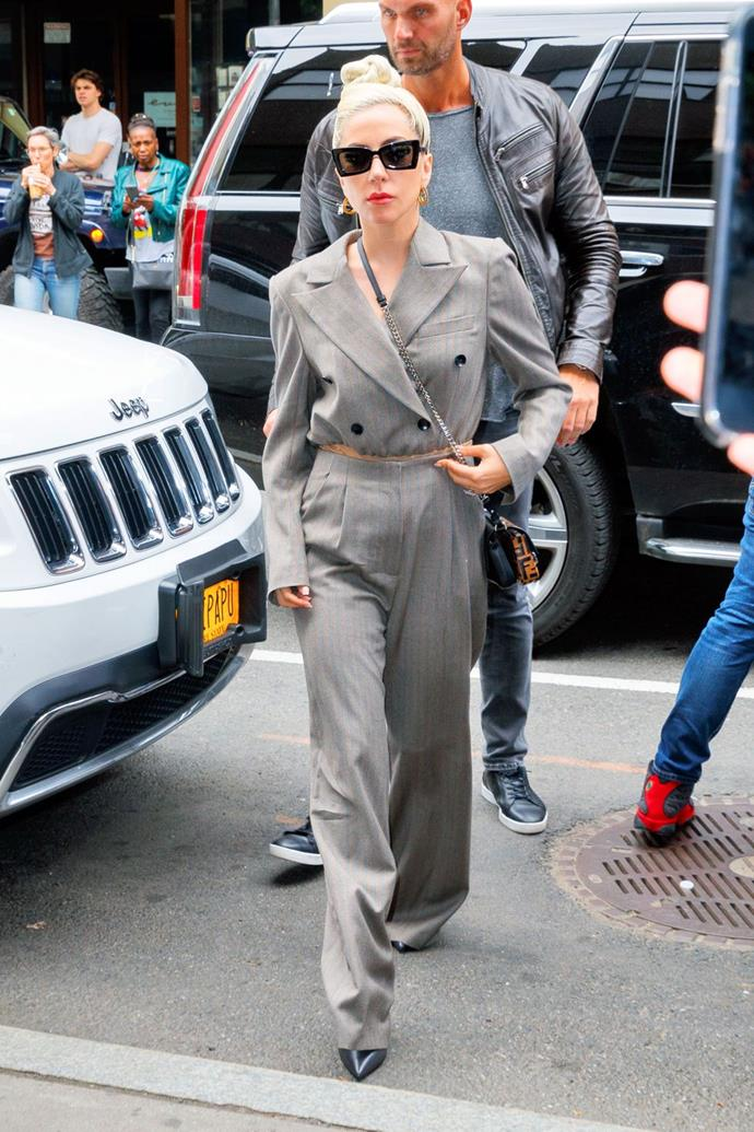 **May 28:**   <br><br> Continuing to serve up boss lady looks, Gaga then stepped out in a double-breasted Fendi suit and crossbody logo bag the next day.