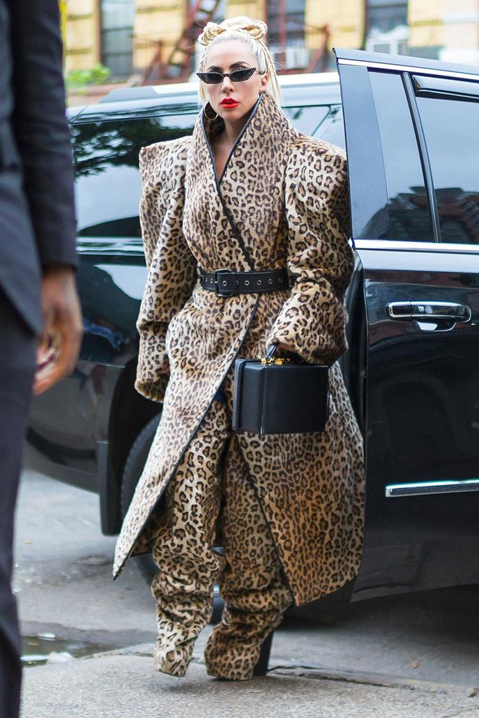 **May 27:**   <br><br> On Sunday, Gaga ditched her polished look for an [over-the-top](https://www.harpersbazaar.com/celebrity/red-carpet-dresses/a15907185/lady-gaga-grammys-gown-2018/) leopard ensemble, a Mark Cross bag, and ultra-skinny cat-eye sunglasses. Oh, and do you see what I see? A tiny braided hair bow sitting atop her head—reviving her iconic 2008 hair bow in a fresh way.