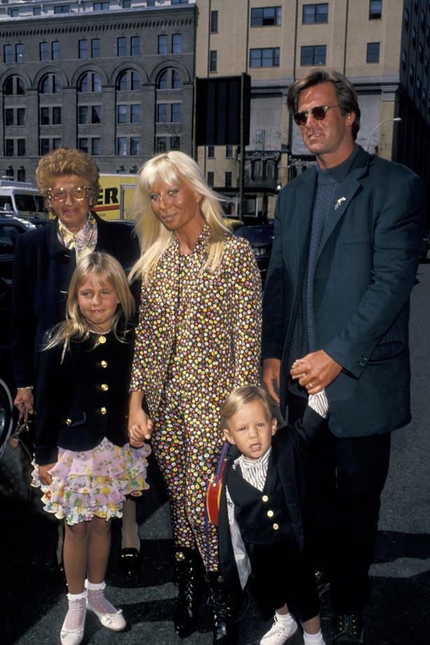 Donatella Versace in 1993 with her family.