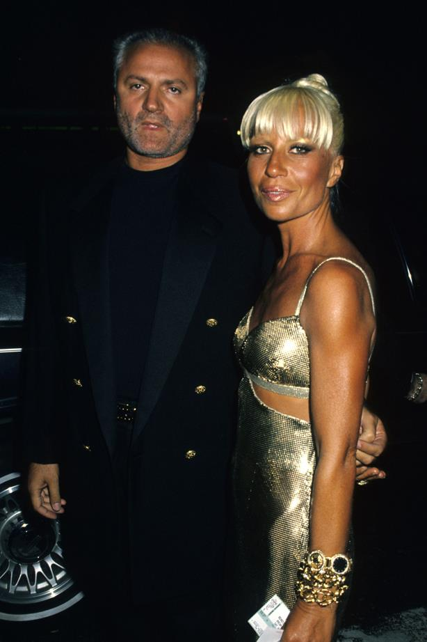 Donatella Versace in 1994 with Gianni Versace.