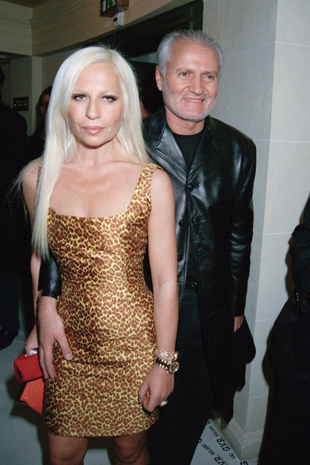 Donatella Versace in 1996 with Gianni Versace.