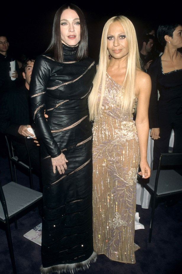 Donatella Versace in 1998 with Madonna.