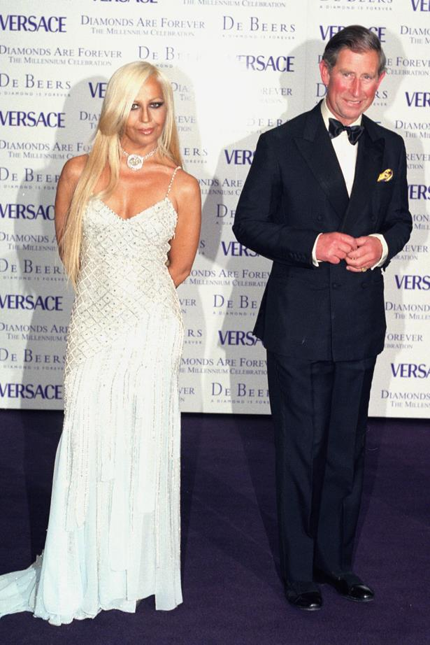 Donatella Versace in 1999 with Prince Charles.