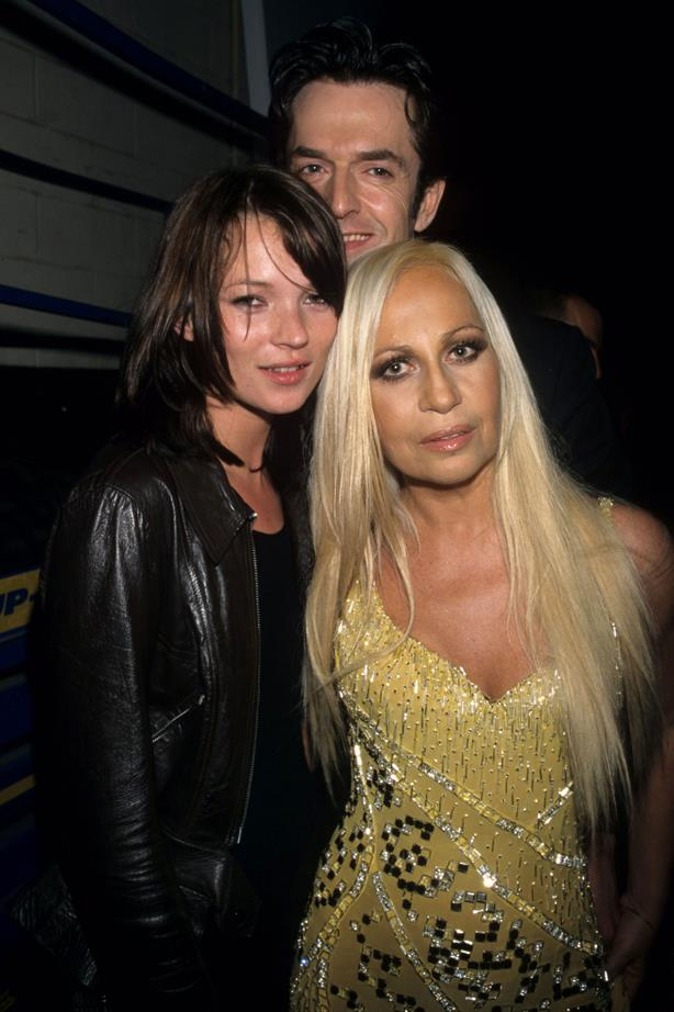 Donatella Versace in 1999 with Kate Moss.