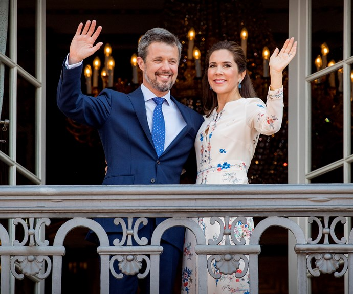 **May 26, 2018** <br><br> Mary wears a Vilshenko dress on the balcony of Amalienborg Palace, on Frederik's 50th birthday.