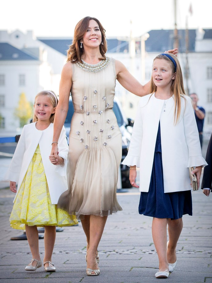 **August 28, 2018** <br><br> Mary dazzled in a pleated, embroidered gown (pictured with daughters Isabella and Josephine).