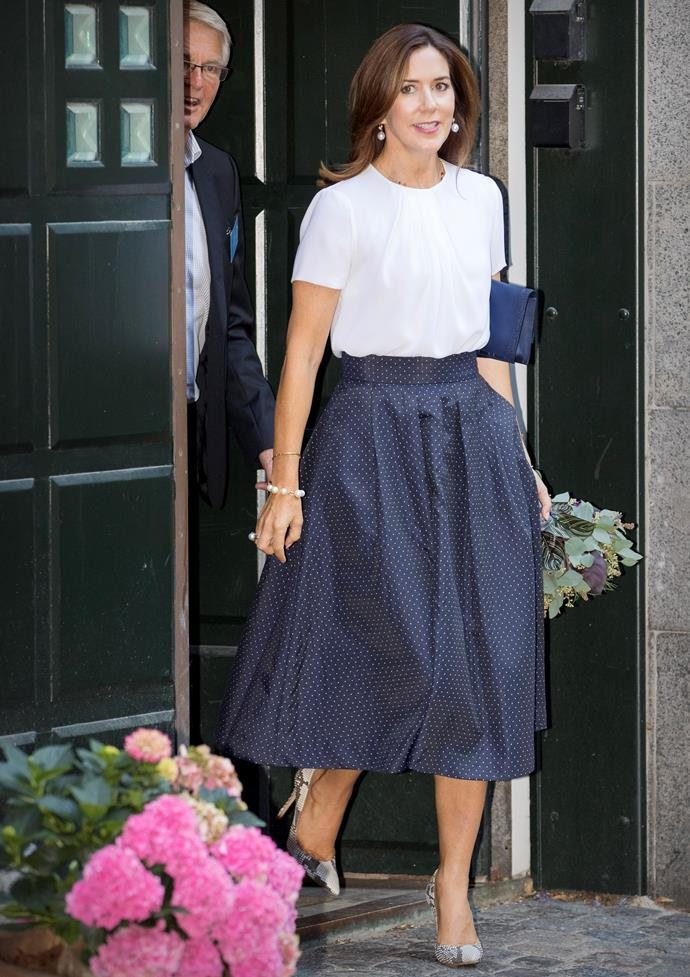 **August 29, 2017** <br><br> Mary kept it simple in a polka-dot skirt and tucked in blouse at a language centre opening in Copenhagen.