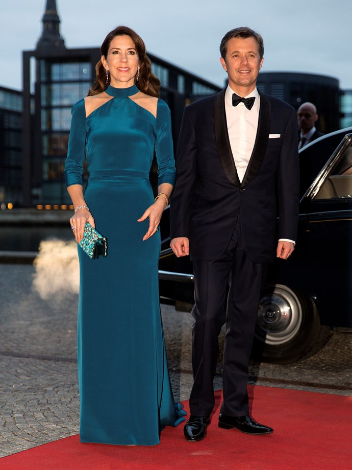 **March 29, 2018** <br><br> Mary wore a velour teal gown to a Copenhagen event with husband Frederik.