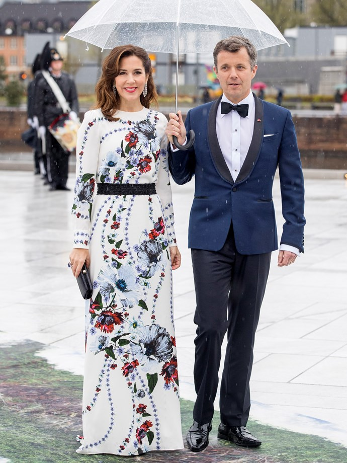 **May 10, 2017** <br><br> Mary wore Erdem to an opera house gala dinner in Copenhagen, pictured with husband Frederik.