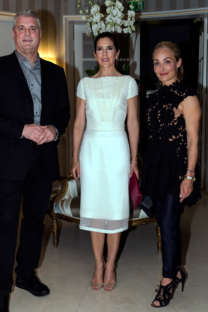 **May 16, 2018** <br><br> Mary wears a dress by Copenhagen designer David Andersen.