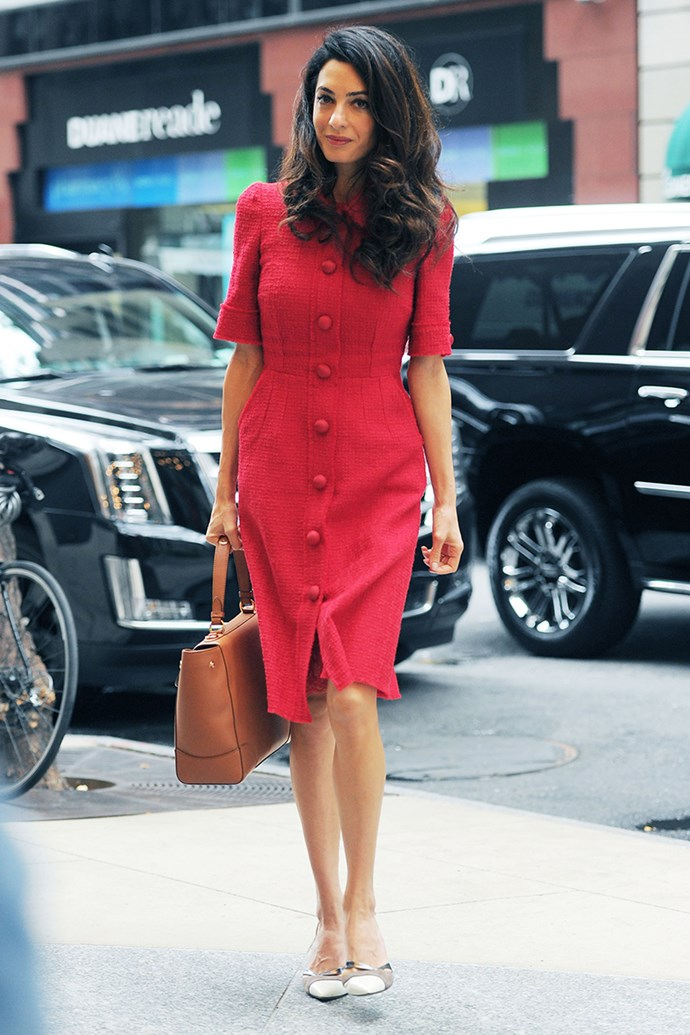 Wearing a Dolce & Gabbana dress in New York City on September 30, 2015