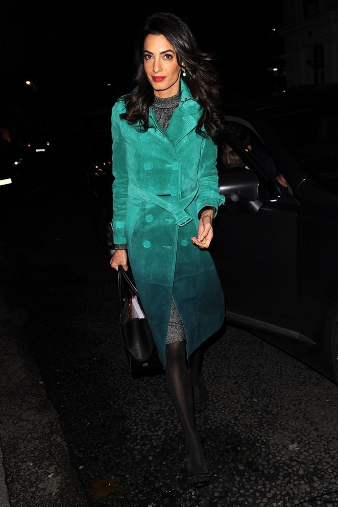 Wearing a sea green Burberry trench in London on October 7, 2015