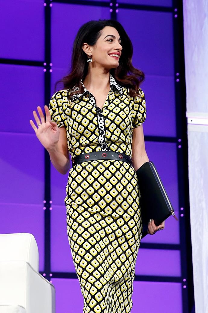 Wearing a Diane von Furstenberg dress and Givenchy heels at the Watermark Conference For Women in San Jose on February 24, 2018