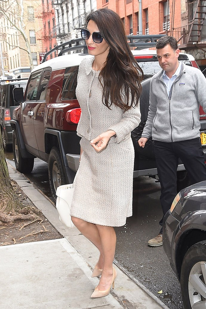 Wearing an oatmeal Chanel suit and Jimmy Choo heels in New York City on March 29, 2018