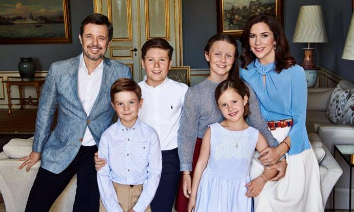"""**May 2018** <br><br> Mary and Frederik pictured with their children (from left to right) Vincent, Christian, Isabella and Josephine, in a family portrait released for Prince Frederik's fiftieth birthday.  <br><br> At a gala dinner celebrating his birthday, Mary showed she still sports her Aussie wit by calling her husband a dedicated 'MAMIL' (middle-aged man in lycra), but ended up bringing him to tears in an über-emotional speech.  <br><br> """"I am so happy you swept me off my feet, not just for a moment, but for life."""" <br><br> *Image: Franne Voigt*"""