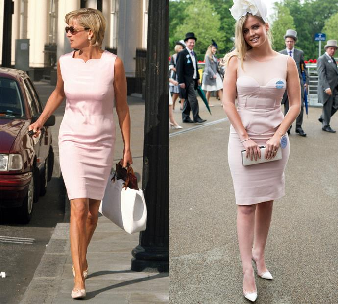 Princess Diana and her niece Lady Kitty Spencer both wear sleeveless blush mini dresses for summer garden parties.