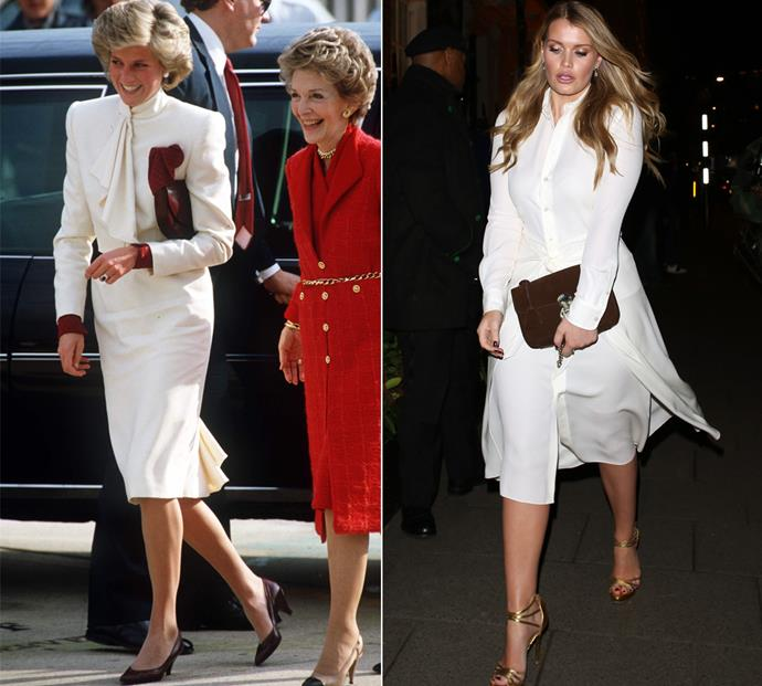 You can definitely see the family resemblance when the duo wore long-sleeve ivory dinner dresses.