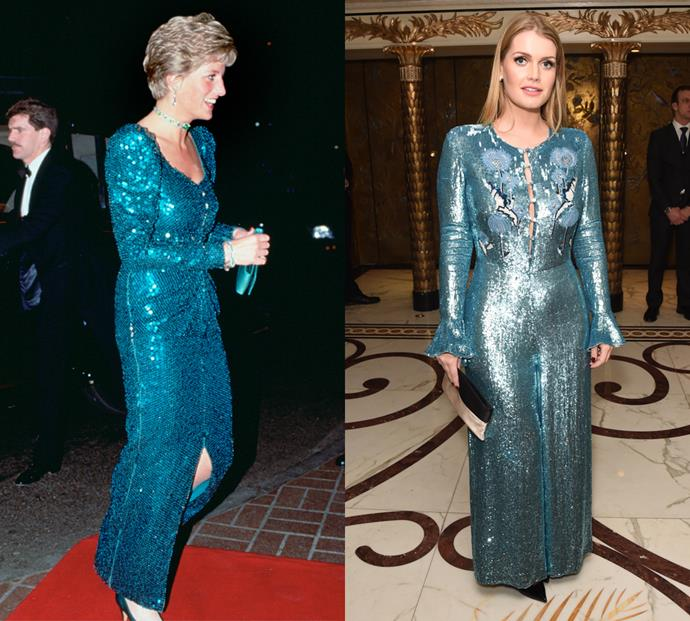 Kitty's borrowed ballgown inspiration from her aunt, donning a teal hued sequin number with a striking resemblance to one worn by Diana.