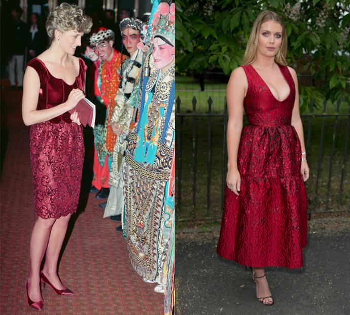 And mid-length scarlet red pouf dresses with brocade detailing for early evening events.