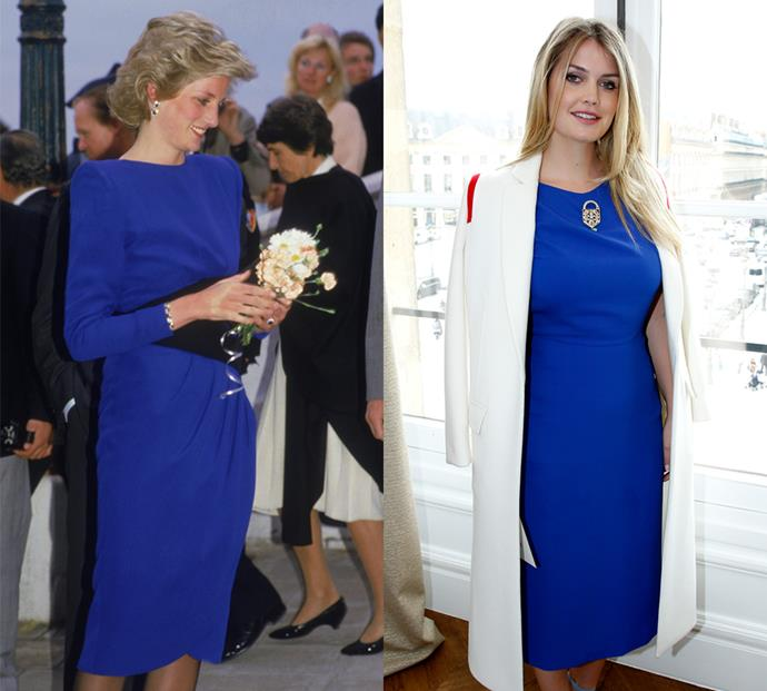 Matching royal blue midi dresses are another staple these two share.
