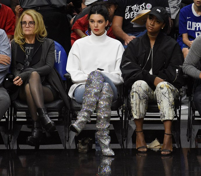 Kendall Jenner wears $10,000 Saint Laurent boots to a Los Angeles Clipper game in 2017