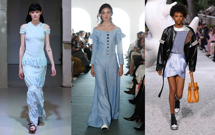 Christopher Esber Resort '19 (left); Karla Špetić Resort '19 (middle); Louis Vuitton Cruise '19 (right).