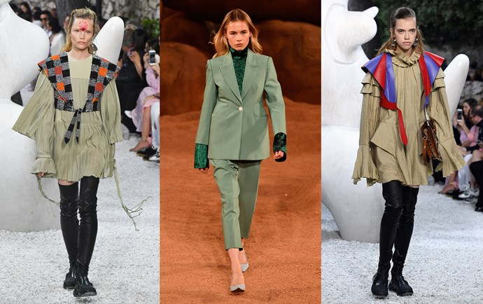 Louis Vuitton Cruise '19 (left); Camilla and Marc Resort '19 (middle); Louis Vuitton Cruise '19 (right).