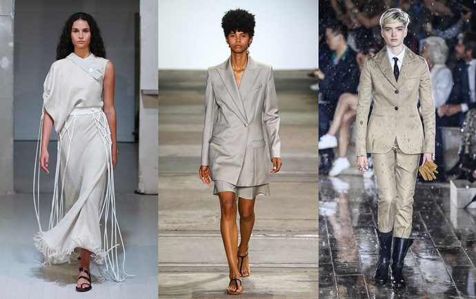 Christopher Esber Resort '19 (left); Anna Quan Resort '19 (middle); Christian Dior Cruise '19 (right).