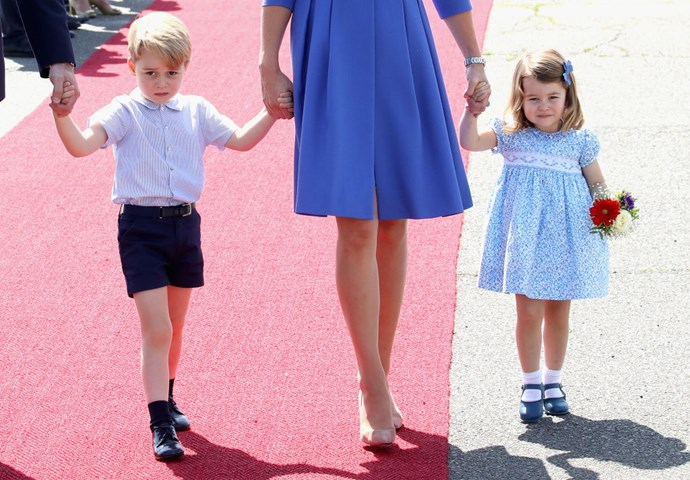 **Smock dresses with Peter Pan collars are the style *du jour*.**   Every time Charlotte has greeted the public, the three-year-old has worn the same outfit formula: a colourful smock dress with a Peter Pan collar. Similarly, brother George is almost always seen in shorts and a shirt.