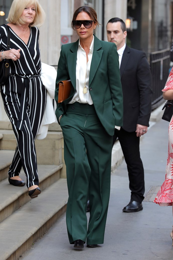 Victoria was also spotted in London just days later wearing a suit in the exact same jeweled hue. Looks like she's trying to tell us green is on the verge of an epic fashion comeback. Watch this space.