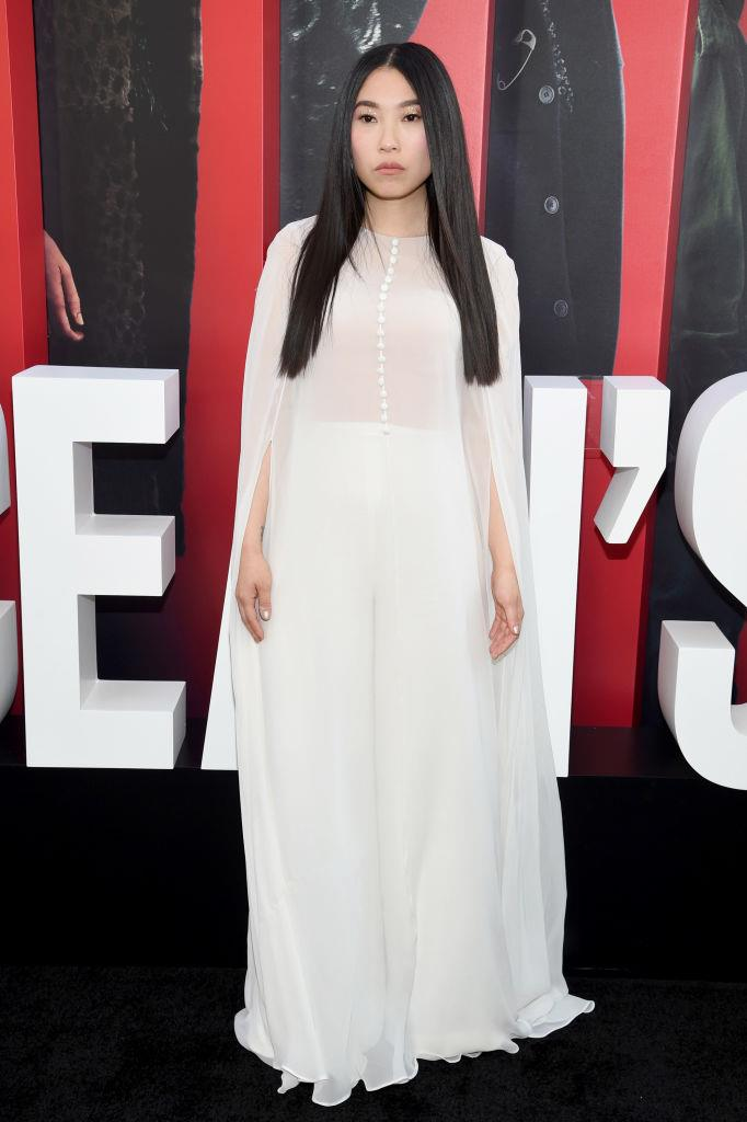 Awkwafina in white Reem Acra