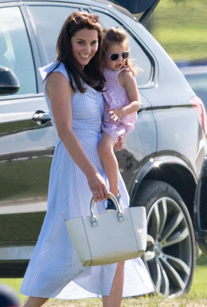 "Kate Middleton attended the Maserati Royal Charity Polo Match in Gloucestershire alongside Prince George and Princess Charlotte. For the event, Duchess Kate opted for a pale blue striped off-the-shoulder dress by [Zara](https://www.zara.com/au/en/striped-off-the-shoulder-dress-p04043095.html|target=""_blank"")."