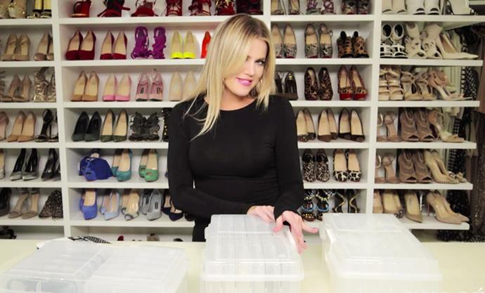The only thing more impressive that Khloé Kardashian's shoe closet...<bR><br> Image via KhloeWithAK.com.
