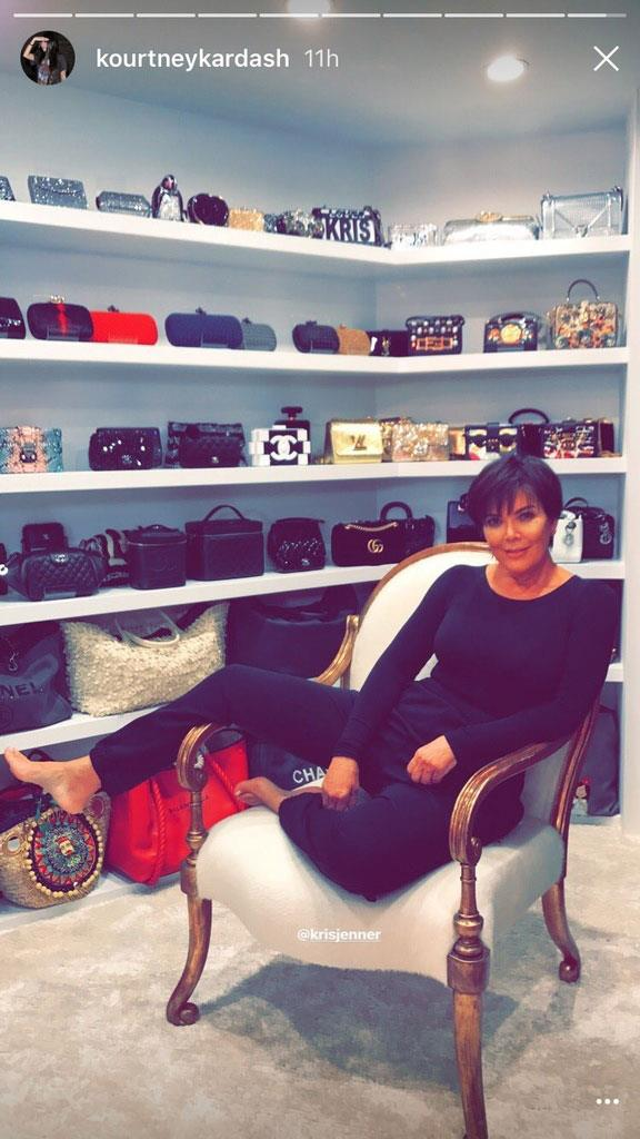 Kourney Kardashian shared this picture of Kris Jenner inside her closet, with her collection of bags—including Gucci, Chanel and Louis Vuitton—on display.<bR><br> Image via Instagram.