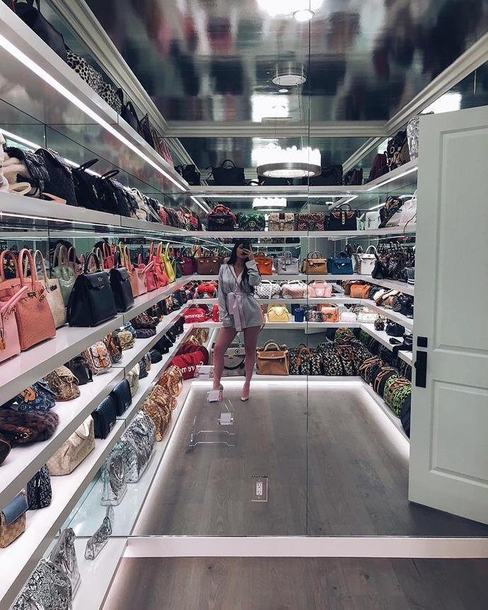 Kris' daughter, Kylie Jenner, certainly gives her 'bag closet' a run for its money. A dedicated fan deduced that Jenner has at least 24 Hermès Birkins in her collection.<bR><br> Image via Instagram.