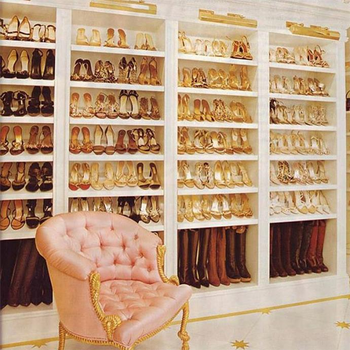 If anyone were to have this many gold-toned shoes, it would be Mariah Carey.<bR><br> Image via Instagram.