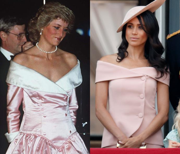 **Off-The-Shoulder Blush Button-Up Numbers**  Lady Diana arriving at a Gala Performance By The Royal Ballet At The Berlin Opera House, Germany on November 1, 1987; Meghan Markle Duchess of Sussex attend Trooping The Colour 2018 at The Royal Horseguards on June 9, 2018.