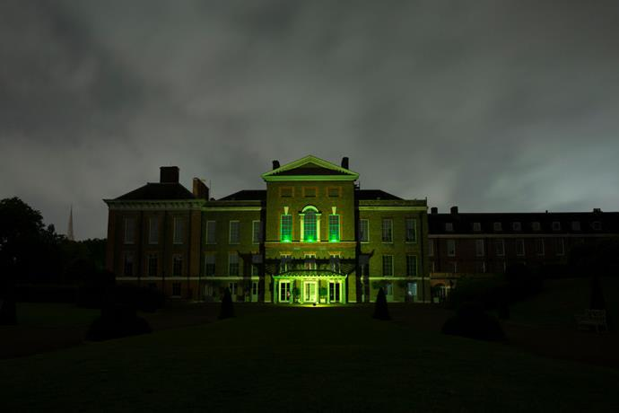 Kensington Palace in green lights. Image: Getty.